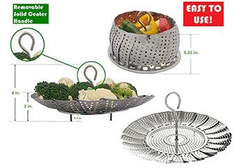Kitchen Deluxe PREMIUM Vegetable Steamer Basket